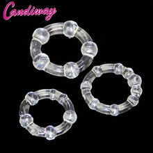 Buy BASICS Triple Clear Cock Ring Set 3pcs Sex Toys beads Cock Rings Erotic Adult Products Chastity Device Time Delay Penis Rings