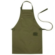 Army Green Canvas Style Aprons Catering Kitchen apron Unisex Woman Men Male Lady Cooking Restaurant Barista Work Apron DW1(China)