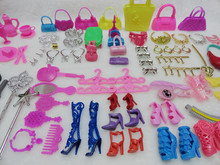 Girl Toy Gift Pack 100Pcs/Pack Doll Accessories Jewellery Bag (Bag,Glasses,Tableware,Necklace,Comb,Shoes ) For Barbies 1/6 Dolls
