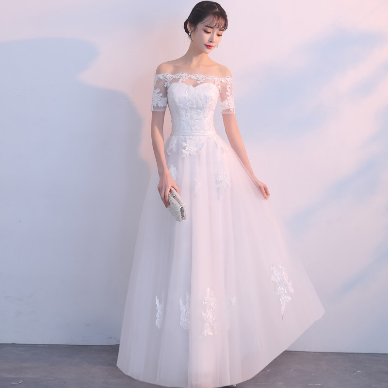 Holievery Off Shoulder Tulle A Line Wedding Dress with Lace Appliques 2019 Trouwjurk Short Sleeves Bridal Gowns vestido novia