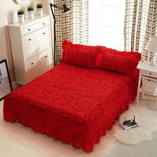 Rose Flowers Home Bed Sheet Cotton Red Bedding Bedspread(China)