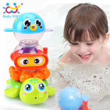 HUILE TOYS 3112 Baby Bath Toy Pool Swimming Toys Animals Stacking Game Children Kids Bathing Tub Water Spraying Tool Toy Gifts