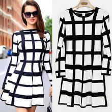 Modern Classic Luxury brand OL Style Round neck long-sleeved checkered black and white dress Office Dress