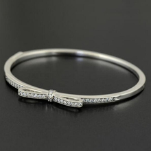 925 Sterling Silver Hinged Sparkling Bow Bangle Fits European Style Jewelry DIY Loose Bead and Charms