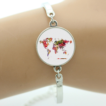 TAFREE Brand Watercolor illustration World Map bracelet London New York Paris skyline California new Birthday cake jewelry NS341