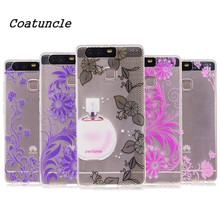 Transparent Soft Silicone TPU Phone Case For Huawei Ascend P9 Lite Back Cover Fragrance lace Painted Pattern For Huawei P 9