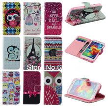 Lovely Cute Owl Style Leather Bowknot Eiffel Tower Flip Phone Case For Samsung Galaxy S4 MINI I9190 Card Slot  Wallet Shell