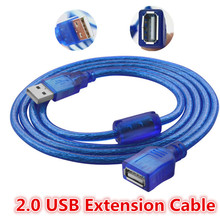 30cm 50cm 3m USB Extension Cable Copper Male to Female USB Extend Adapter Dual Shielding Transparent Blue Anti-interference