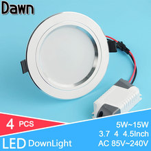 4Pcs/Lot Silver Ultra Bright LED Downlight 5w 10w 15w Round LED Ceiling Recessed Light 110v 220v 240v Down Light Cold Warm White