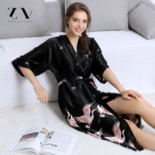 Buy Silk robes women Kinomo Lingerie Pajamas Summer Dress Robe Women's Pajamas Sexy Bathrobe Dressing Gowns Night Bathrobes