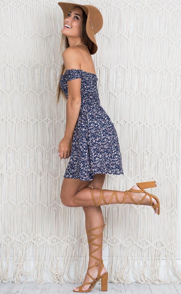 LOSSKY New 18 Fashion Women Dress Short Sleeve Floral Dress Sexy Off Shoulder Beach Mini Summer Dress Casual Party Vestidos 8