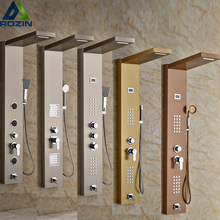 Golden/Brushed Nickel Bathroom Shower Panel Single Handle with Body Massage Jets System Waterfall Rain Shower Column