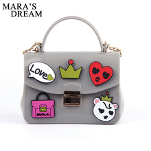 Mara's Dream 2017 Chain Jelly Bags The Summer New Small Inclined Shoulder Bag Handbag Contracted Woman Single Shoulder Bag(China)