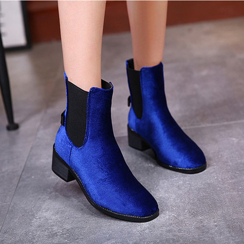British Style Square Toe Ankle Boots Women Spring Autumn Women Shoes Low Casual Blue Boots Women Shoes Winter Fashion Woman<br><br>Aliexpress