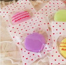 200 Red Heart Open Top Cellophane Bag For Candy Chocolate Bakery Gift Cookie Packing 10x11cm
