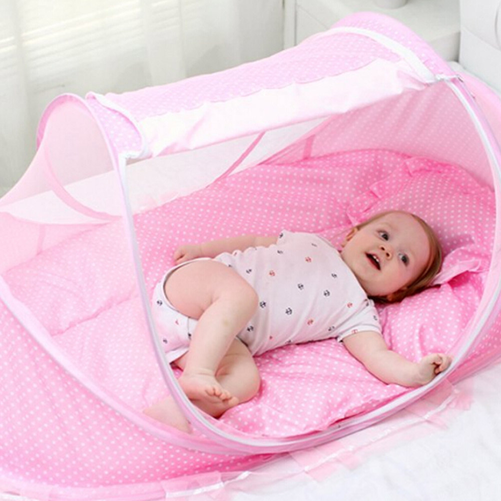 High quality 4pcs/Set Baby Crib Sets Portable Folding Type Comfortable Infant Pad with Sealed Mosquito Net Baby<br>
