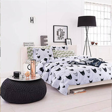 cartoon cotton 4 piece bedding sets queen size cat pattern duvet cover 1.5m bed sheets free shipping