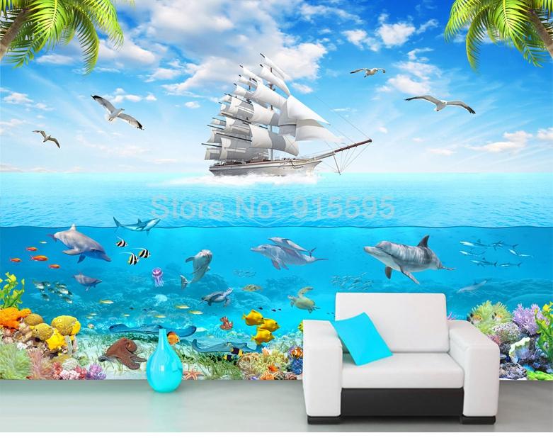 HTB1CEolRpXXXXcMapXXq6xXFXXXH - 3D Cartoon Picture Underwater Sailing Dolphin Wall Mural-Free Shipping