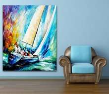 100% Hand-painted Color Palette Crazy Yacht Sailing Race Canvas Painting Frameless Unique Wall Art for Hotel Office Home Decor