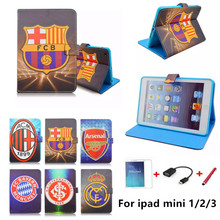High quality With Football giants pattern 7.9 inch Tablet Soft PU Leather Cover For apple Ipad mini 1 2 3 case +screen protector