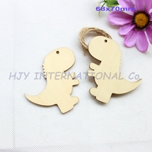"(50pcs/lot) 70mm Blank Unfinished Wooden Dinosaurs Ornaments Rustic Wood Dino Tags 2.8""-CT1122A"