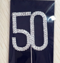Happy age 50th Birthday / Wedding Anniversary decoration 1 piece Number 50 Rhinestone Crystal Cake Topper supplies