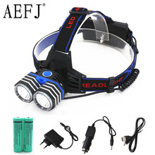 6000LM 2*XML-T6 LED18650 AA AAA Headlamp Headlight Bicycle Head Lamp Light Flashlight Torch+2x18650 battery+Car AC USB Charger