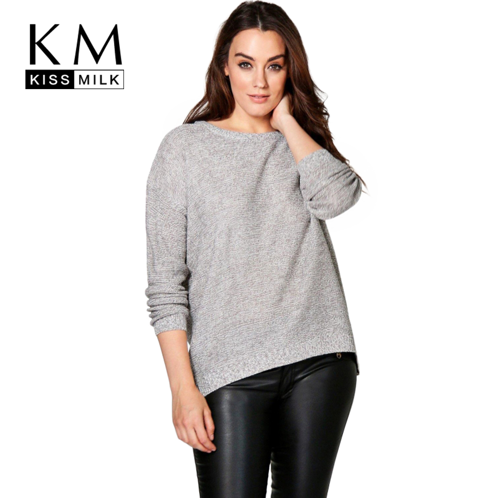 Kissmilk Plus Size Fashion Women Clothing Casual Knitted Sweater Loose Pullover Warm Zipper Slim Jumper Big Size Sweater 4XL 5XL
