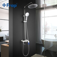 Frap modern White waterfall Shower set Faucet Cold and Hot Water Mixer Single Handle Adjustable rain Shower Bar kit chuve F2434