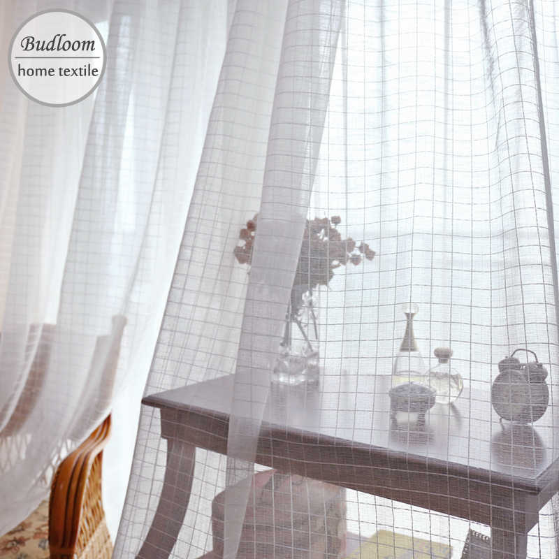 Modern style plaid jacquard tulle curtain for living room white check pattern voile window sheer panel for bedroom