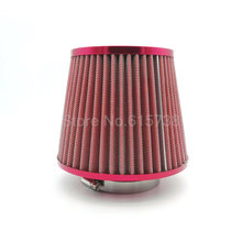 "3"" 76MM Red Car Air Cleaner High Flow CCar Universal Air Cleaner High Flow Cone Cold Air Intake Filter Cleaner Universal(China)"