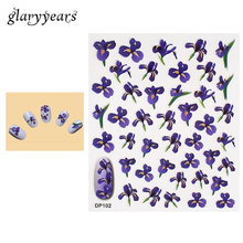 1 Piece Nail Art Sticker Purple Viole Flower Pattern Design Beauty Women Manicure Tips Tool Nail Care Sticker High Quality DP102
