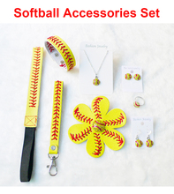 Softball Baseball Leather Headband Hair Flower Bracelet Bracelet Wristlet Keychain Post Earrings Studs Dangle Necklace