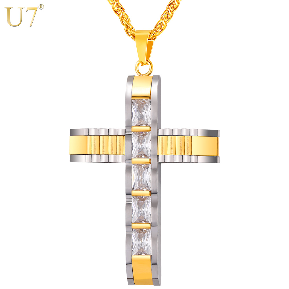 U7 Big Cross Necklace & Pendant Two-tone Gold Color Stainless Steel Cubic Zirconia Christian Jewelry For Men/Women Gift P1089(China (Mainland))