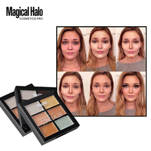 Magical Halo 6 Colors Concealer Cream Contour Palette Kit Professional Makeup Bronzer Highlighter Powder Trimming Face Brighten(China)