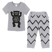 Baby Clothes set Short Sleeve Top Shirt and Pants Kids Boys Girls Clothing 2 Pieces