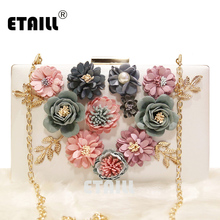 ETAILL Appliques Pattern 3D Flowers Crossbody Shoulder Bag Wedding Dinner Bags Hand Evening Bags Purses Box Clutch with Chain