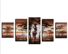 100 % handpainted afrian woman hard working tree landscape oil painting on canvas art picture 5 panels(China)