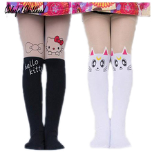 Children Clothing toddler girls stockings Cute Cartoon print patchwork Kitty stockings kids fashion pantyhose baby tights(China)