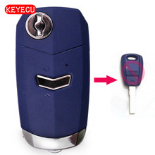 Keyecu Modified Folding Remote Key Case 1 Button for Fiat Uncut Blade SIP22 Blue Color(China)