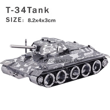 New creative Tanks 3D metal model 3D puzzles Creative DIY T-34 tanks Jigsaws Adult/Children gifts toys Retro tanks Etc.(China)