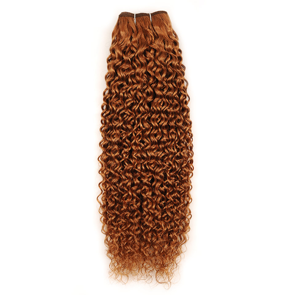 Pinshair Pre-Colored 10-26 Non-Remy Brazilian Jerry Curly Color 30 Hair Weave 4 Bundles 400GPack 100% Human Hair  Thick Wefts (10)