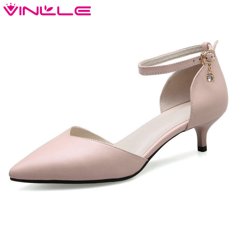 VINLLE 2018 Women Pumps Genuine Leather Thin High Heel Ankle Strap Crystal Classic Black Ladies Wedding Shoes Size 34-41<br>