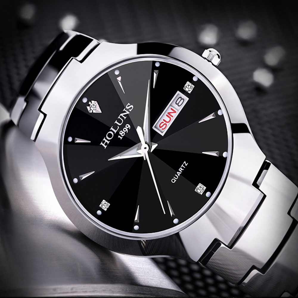 Holuns Mens Watches Waterproof Tungsten Luxury Steel Fashion Quartz Montre Elegant Top-Brand title=