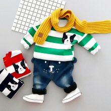 Unique Panda Winter Baby Boy Clothes Warm Baby Clothes Set Sweater + Pants 2PCS Sport Suits Toddler Boy Outerwear Christmas Gift(China)