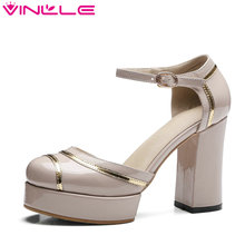 VINLLE 2017 Women Pump Round Toe Platform Party Women Square High Heel Shoes Ankle Strap Patent Leather Ladies Shoes Size 34-42