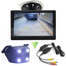 5 inch LCD Display Rear View Car Monitor + LED Color Night Vision Car Camera Wireless Parking Security System Kit
