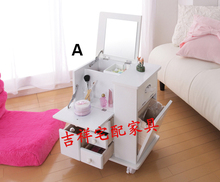 Organizador Furniture Cosmetic Storage Box Cabinet Dressing Table With Mirror Jewelry Mobile Sofa Side mirror drawers furniture(China)