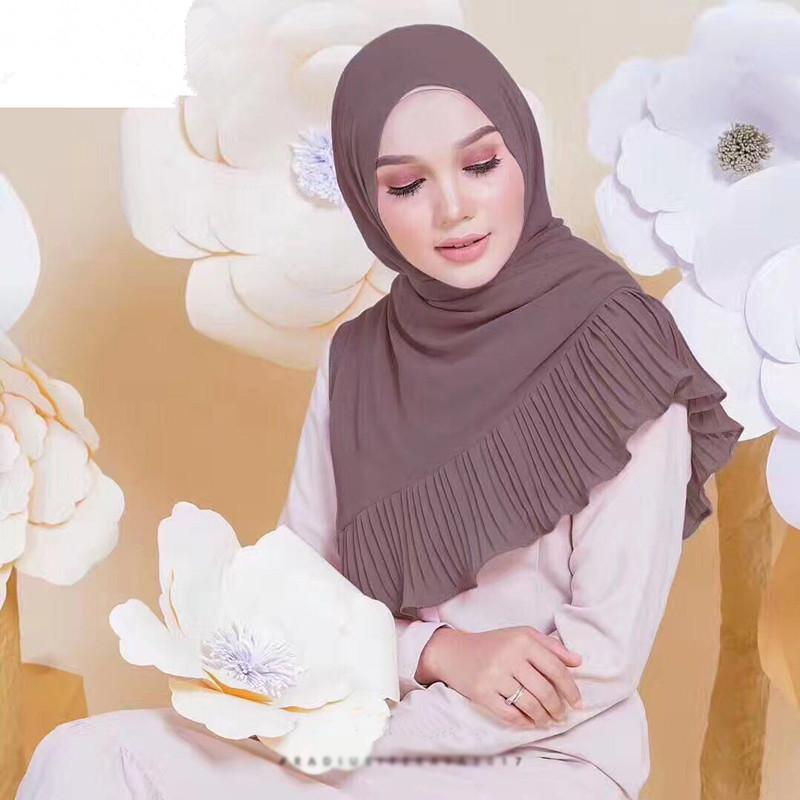 Muslim women chiffon Patchwork headscarf high quality head coverings drape stitching hijab Islam girl's cap big size 10