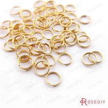 (T12958)Wholesale 100 pieces 24K Gold Plated Out Diameter 6mm Wire Thickness 0.5mm Round Brass Split Rings Double loop